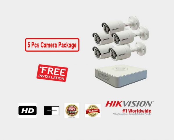 Hikvision (5 Pcs CC Camera Package )